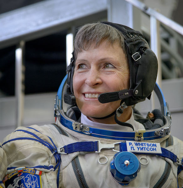 Expedition 50 NASA astronaut Peggy Whitson smiles as she listens to a reporter's question ahead of the final qualification exams with fellow crew mates Russian cosmonaut Oleg Novitskiy of Roscosmos and ESA astronaut Thomas Pesquet, Tuesday, Oct. 25, 2016, at the Gagarin Cosmonaut Training Center (GCTC) in Star City, Russia. Photo Credit: (NASA/Bill Ingalls)