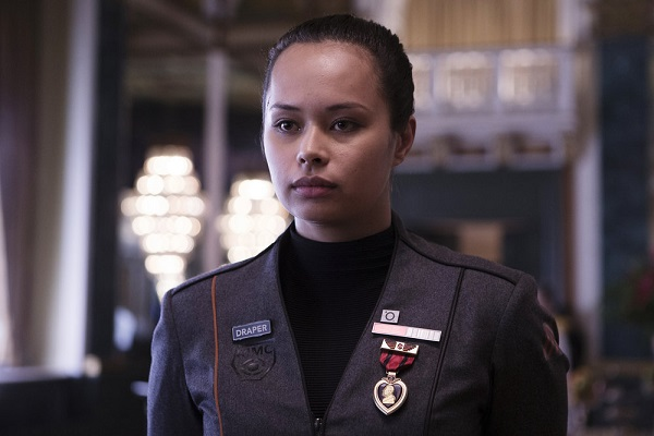 "THE EXPANSE -- ""The Weeping Somnambulist"" Episode 209 -- Pictured: Frankie Adams as Bobbie Draper -- (Photo by: Rafy/Syfy)"