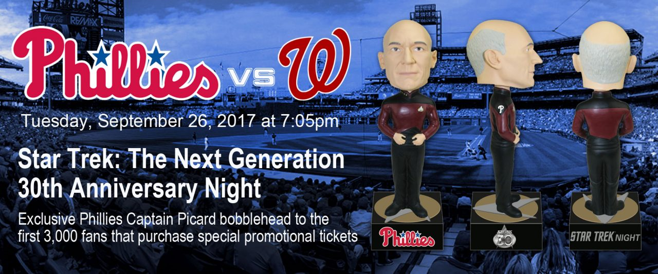 Geek Girl Authority Ready Room Star Trek The Next Generation Night 30th Anniversary with the Phillies with Captain Picard Bobblehead