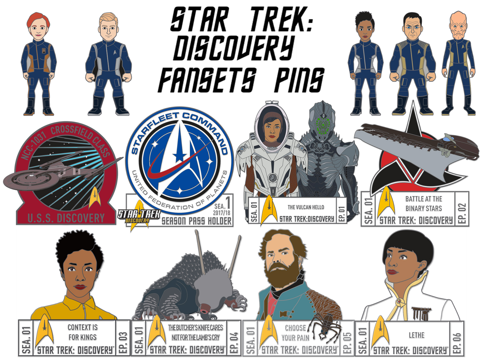 Star Trek Discovery Fansets Pins
