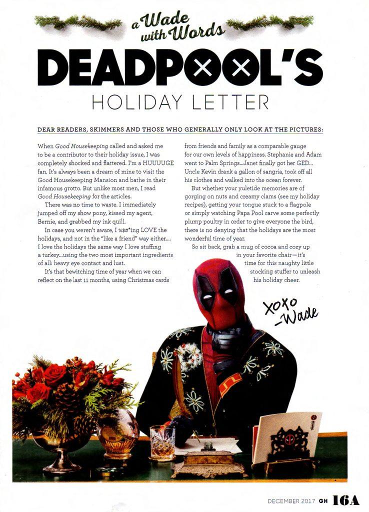 Deadpool 2 Good Housekeeping Letter
