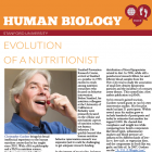 Human Biology newsletter orange and maroon banner featuring a photo of a happy white-haired Christopher Gardner putting a raspberry to his mouth