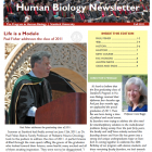 front page of newsletter: photo of Dr. Paul Fisher at graduation podium, photo of director Carol Boggs, and table of contents.