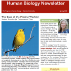 red banner with white text saying Human Biology Newsletter, bright yellow warbler sitting on twig with big blue sky behind it. Director Boggs headshot