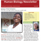 red banner with white Human Biology Newletter. African woman smiling. Director Boggs headshot