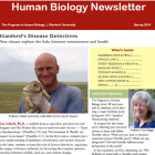 Large red banner with Human Biology Newsletter in white print, Prof. Dan Salkeld holding a gopher. Director Boggs headshot