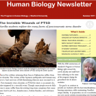 front cover, large red banner across the top reads Human Biology Newsletter. photo of soldiers walking into water. Director Boggs headshot