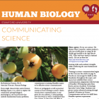 New newsletter banner wide orange on top, with maroon strip beneath, white text reads Human Biology. Newer icon with three red bubbles together in upper right corner. The bubbles have in white an image of feet, a dna strand, and a globe. Beneath the banner reads the article title in orange Communicating Science, with a photo of orange loquat fruits nestled into green tree branches and leaves.
