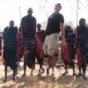 Dr. Bob Siegel & Maasai villagers in the famous Siegel jump