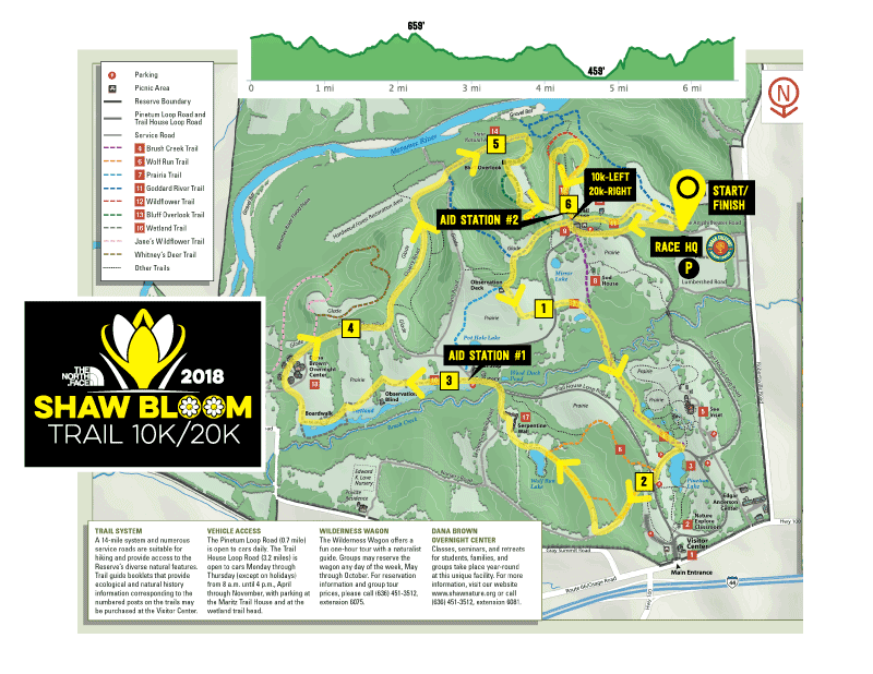 2018 Shaw Bloom Trail 10k/20k course map