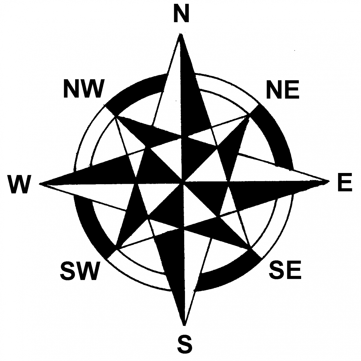 Compass Pointing East Tattoo Basic Map & Compas...