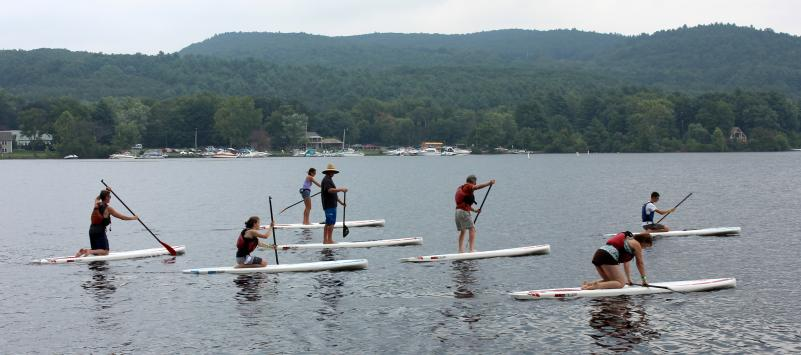 SUP class on a lake