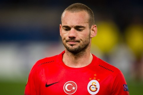 Wesley Sneijder of Galatasaray during the UEFA Europa League round of 32 match between SS Lazio and Galatasaray on February 25, 2016 at the Stadio Olimpico in Rome, Italy.(Photo by VI Images via Getty Images)