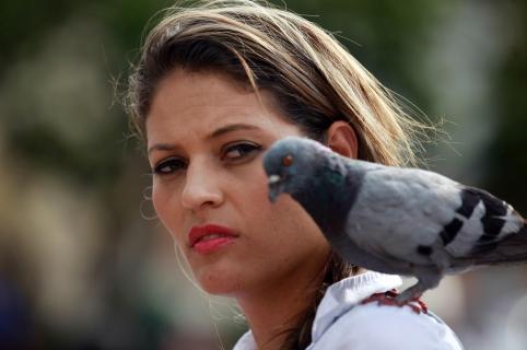 """BOG108. CALI (COLOMBIA), 07/03/2016.- Una paloma se posa sobre el hombro de una mujer hoy, lunes 07 de marzo de 2016, en un parque de Cali (Colombia). Naciones Unidas decretó como tema para la conmemoración del Día Internacional de la Mujer 2016 el eslogan """"Por un planeta 50 -50"""" , y promueve la idea de avanzar en políticas para alcanzar la igualdad de género, en favor del empoderamiento y los derechos humanos de las mujeres. EFE/Christian Escobar Mora"""