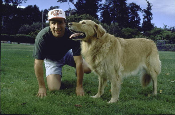 "UNITED STATES - JANUARY 01: Golden retriever dog Buddy, basketball-playing star of motion picture 'Air Bud,"" with his owner Kevin DiCicco, near San Francisco. (Photo by Acey Harper/The LIFE Images Collection/Getty Images)"