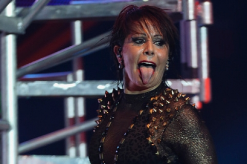 AUSTIN, UNITED STATES - NOVEMBER 20:  Alejandra Guzman performs during a show as part of the 'A + NO PODER' Tour at The Coliseum on November 20, 2015 in Austin, United States. (Photo by Omar Vega/LatinContent/Getty Images)