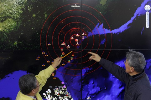SEOUL, SOUTH KOREA - JANUARY 06:  Ko Yun-hwa (L) The Korea Meteorological Administration Administrator and Yun Won-Tae (R) a Earthquake and Volcano of the Korea Meteorological Administration Director General checks the screen of show a seismic waves from North Korea at the Korea Meteorological Administration center on January 6, 2016 in Seoul, South Korea. North Korea confirmed it has conducted a hydrogen bomb test after South Korea's Metrological Administration detected an 'artificial earthquake' near  Punggye-ri, North Korea's main nuclear testing site on January 6, 2015.  (Photo by Chung Sung-Jun/Getty Images)