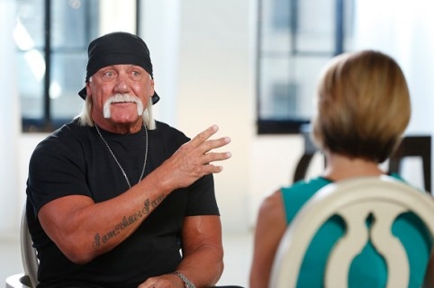 "GOOD MORNING AMERICA - Hulk Hogan sat down for an interview with Amy Robach to air on ""Good Morning America,"" 8/28/15, on the ABC Television Network. (Photo by Heidi Gutman/ABC via Getty Images) HULK HOGAN, AMY ROBACH"
