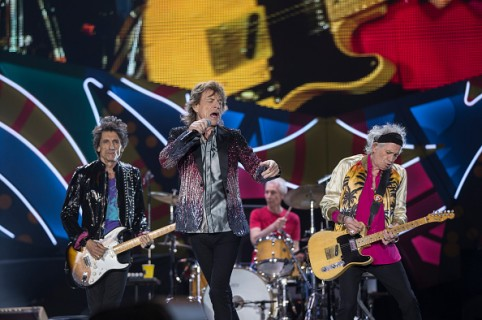 SANTIAGO, CHILE - FEBRUARY 03:  Mick Jagger , Ronnie Wood, Keith Richards and Charlie Watts of The Rolling Stones perform live on stage during the America Latina Ole Tour 2016 at Estadio Nacional on February 03, 2016 in Santiago, Chile. (Photo by Carlos Mueller/Getty Images for TDF Productions)