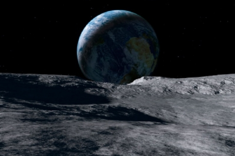 Earth seen from moon, simulation