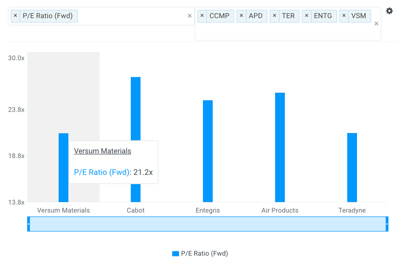 VSM P/E Multiples vs Peers