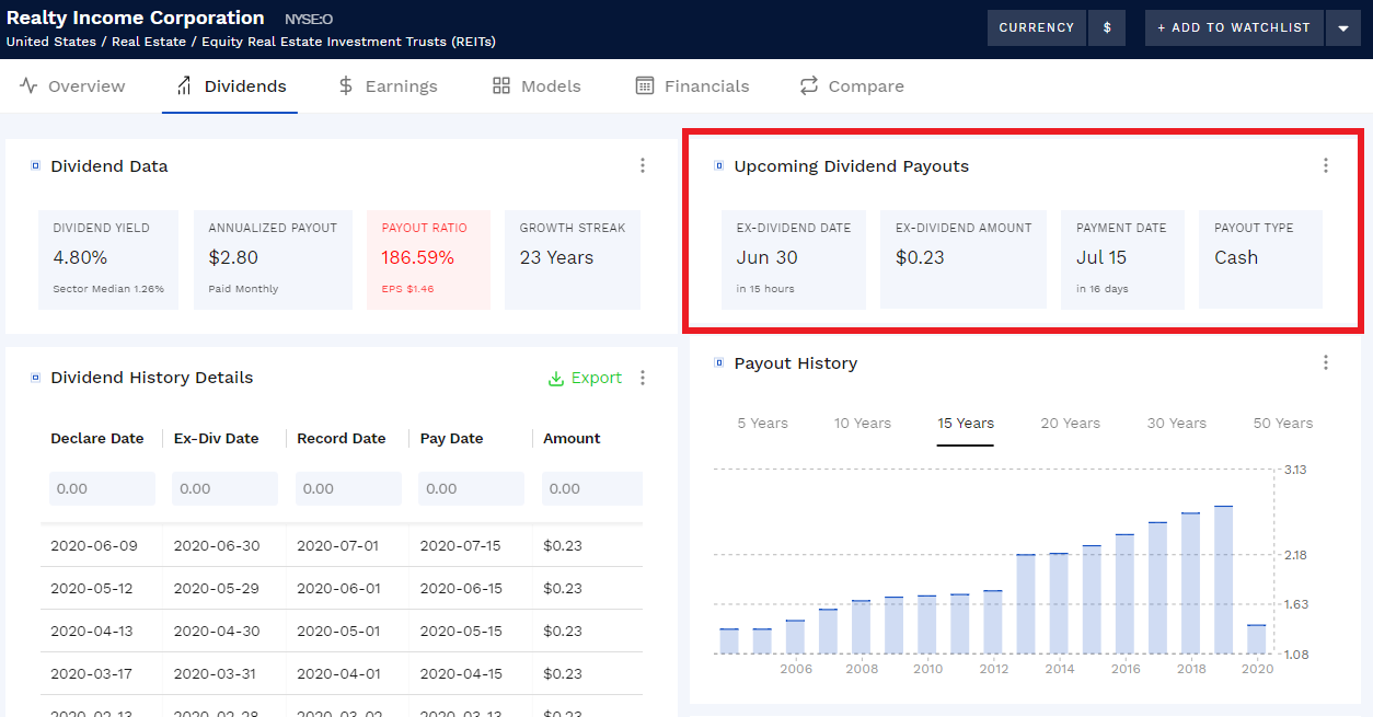 finding upcoming dividend dates with the Finbox data explorer