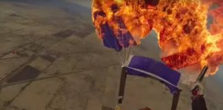 Woman Sets Parachute on Fire