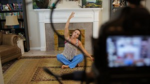 Bethany recording a workout for Fit2B Studios