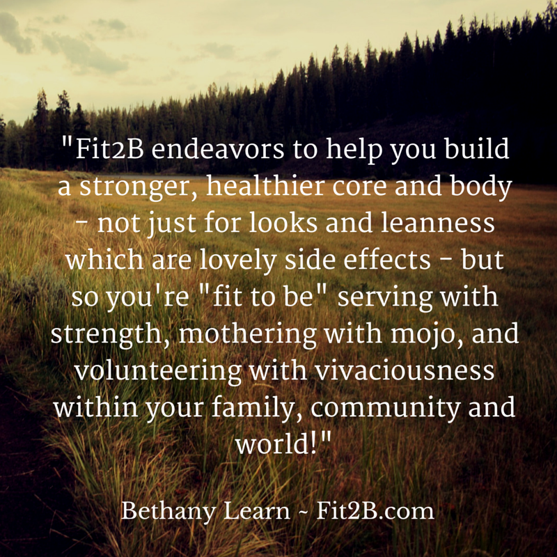 Fit2B endeavors to help you build a stronger, healthier core and body.