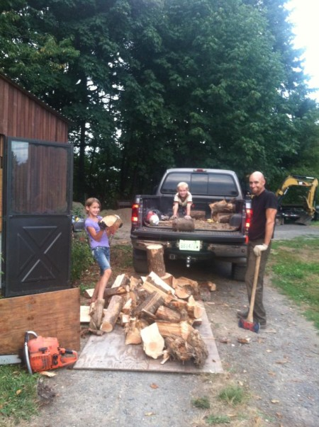 Hauling and chopping wood for a fireplace is terrific exercise!