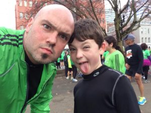 My son Owen and I running the Shamrock in Portland