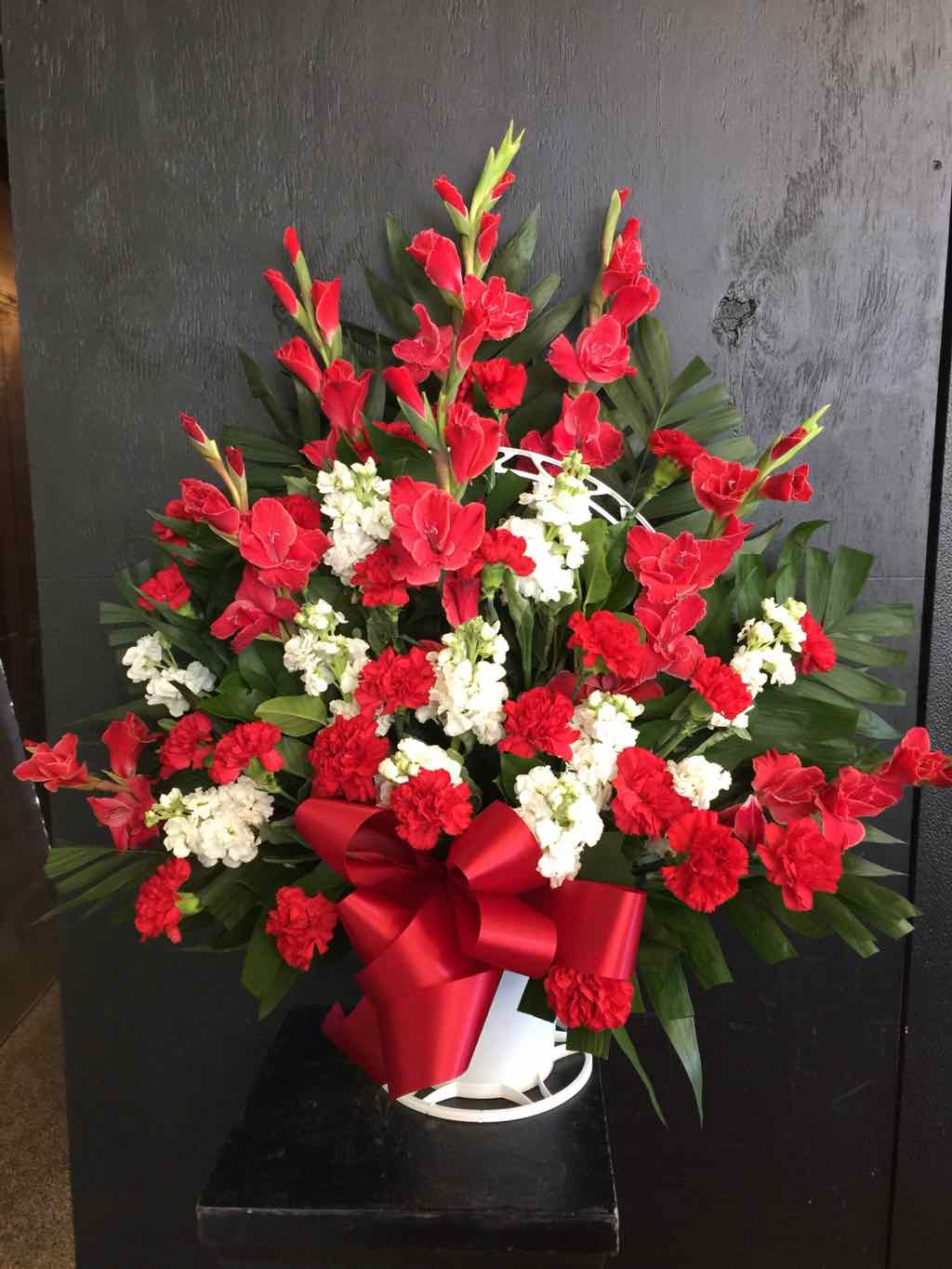 Red and White Floor Basket by Fasan Florist
