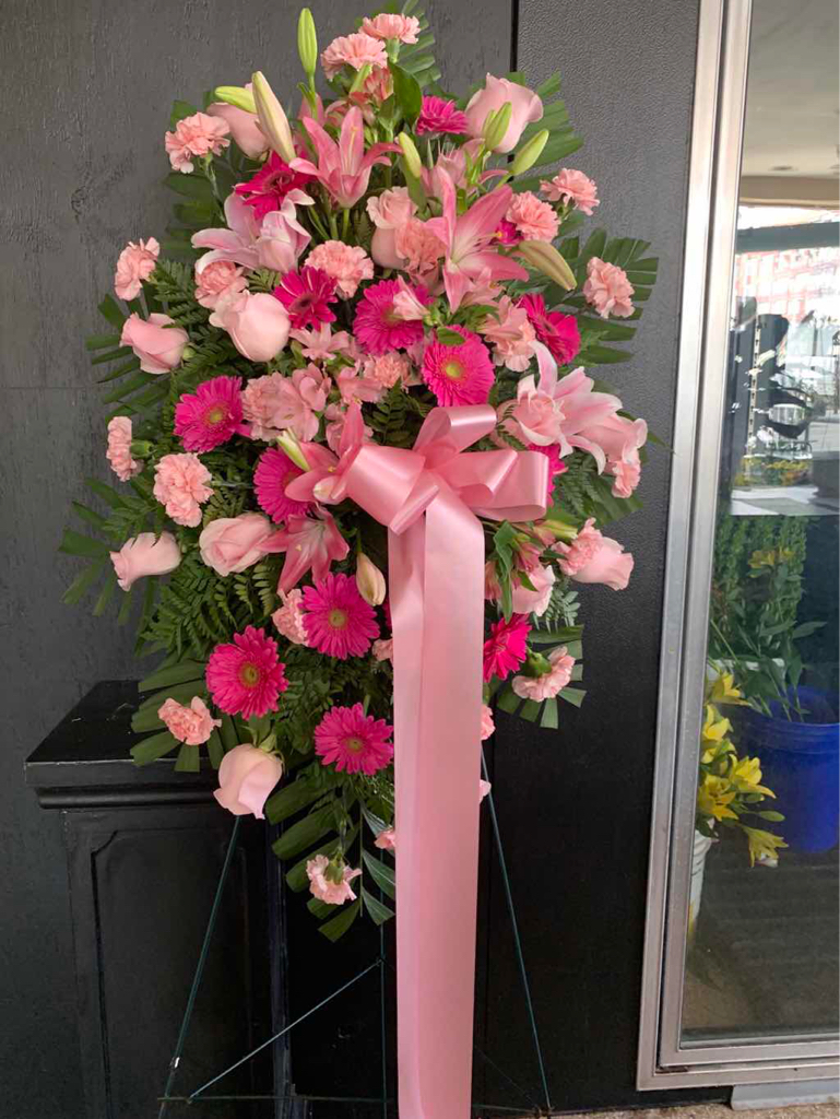 Pink Tribute Spray by Fasan Florist
