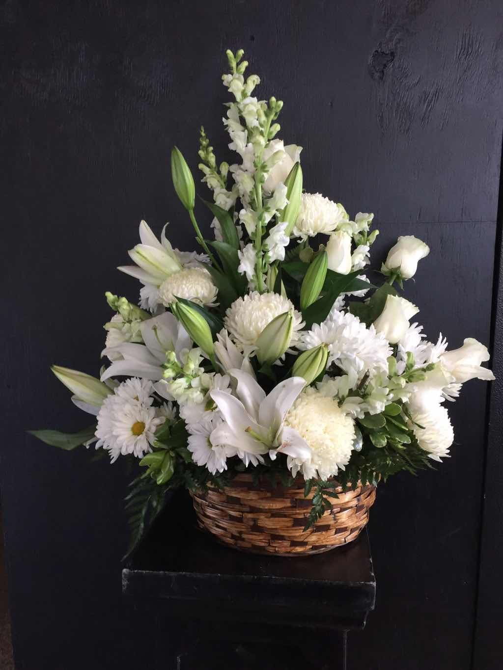 Basket Arrangement of Mixed White Flowers by Fasan Florist