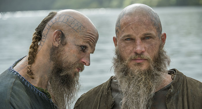 Vikings - Gustaf Skarsgard as Floki and Travis Fimmel as Ragnar (Jonathan Hession/History)
