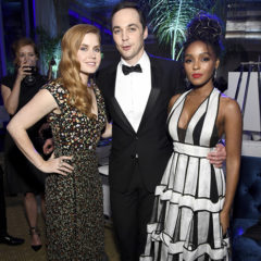 PALM SPRINGS, CA - JANUARY 02:  (L-R) Actors Amy Adams, Jim Parsons and Janelle Monae attend the after party for the 28th Annual Palm Springs International Film Festival Film Awards Gala at the Palm Springs Convention Center on January 2, 2017 in Palm Springs, California.  (Photo by Frazer Harrison/Getty Images for Palm Springs International Film Festival)