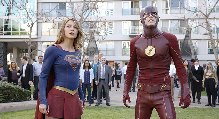 Melissa Benoist as Kara/Supergirl and Grant Gustin as Barry/The Flash (Robert Voets/Warner Bros)