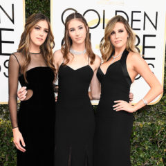 BEVERLY HILLS, CA - JANUARY 08:  (L-R) 2017 Miss Golden Globe Sistine Stallon, Scarlet Stallone and Sophia Stallone attend the 74th Annual Golden Globe Awards at The Beverly Hilton Hotel on January 8, 2017 in Beverly Hills, California.  (Photo by Frazer Harrison/Getty Images)