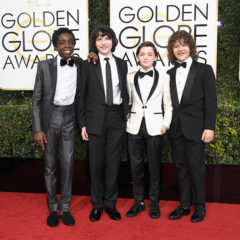 BEVERLY HILLS, CA - JANUARY 08:  (L-R) Actors Caleb McLaughlin, Finn Wolfhard, Noah Schnapp, and Gaten Matarazzo attend the 74th Annual Golden Globe Awards at The Beverly Hilton Hotel on January 8, 2017 in Beverly Hills, California.  (Photo by Frazer Harrison/Getty Images)