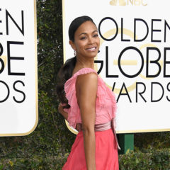 BEVERLY HILLS, CA - JANUARY 08:  Actress Zoe Saldana attends the 74th Annual Golden Globe Awards at The Beverly Hilton Hotel on January 8, 2017 in Beverly Hills, California.  (Photo by Frazer Harrison/Getty Images)