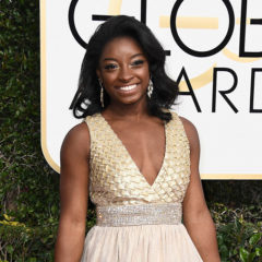 BEVERLY HILLS, CA - JANUARY 08: Gymnast Simone Biles attends the 74th Annual Golden Globe Awards at The Beverly Hilton Hotel on January 8, 2017 in Beverly Hills, California.  (Photo by Frazer Harrison/Getty Images)