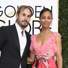 BEVERLY HILLS, CA - JANUARY 08:  Actress Zoe Saldana (R) and Marco Perego attend the 74th Annual Golden Globe Awards at The Beverly Hilton Hotel on January 8, 2017 in Beverly Hills, California.  (Photo by Frazer Harrison/Getty Images)