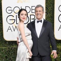 BEVERLY HILLS, CA - JANUARY 08:  Actor/director Mel Gibson (R) and screenwriter Rosalind Ross attend the 74th Annual Golden Globe Awards at The Beverly Hilton Hotel on January 8, 2017 in Beverly Hills, California.  (Photo by Frazer Harrison/Getty Images)