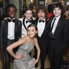 BEVERLY HILLS, CA - JANUARY 08:  (L-R) Actors Caleb McLaughlin, Noah Schnapp, Gaten Matarazzo, Finn Wolfhard, and (bottom) Millie Bobby Brown at the 74th annual Golden Globe Awards sponsored by FIJI Water at The Beverly Hilton Hotel on January 8, 2017 in Beverly Hills, California.  (Photo by Charley Gallay/Getty Images for FIJI Water)