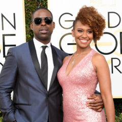 """74th ANNUAL GOLDEN GLOBE AWARDS -- Pictured: (l-r) Sterling K. Brown, """"This is Us"""" and Ryan Michelle arrive to the 74th Annual Golden Globe Awards held at the Beverly Hilton Hotel on January 8, 2017 -- (Photo by: Kevork Djansezian/NBC)"""