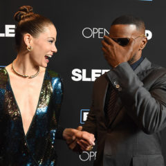 """LOS ANGELES, CA - JANUARY 05:  Actors Michelle Monaghan (L) and Jamie Foxx arrive at the premiere of Open Road Films' """"Sleepless"""" at the Regal LA Live Stadium 14 Theatre on January 5, 2017 in Los Angeles, California.  (Photo by Kevin Winter/Getty Images)"""