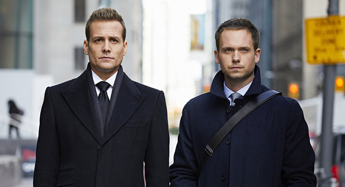 Gabriel Macht, Patrick J. Adams in Suits (Shane Mahood/USA Network)