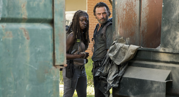 Danai Gurira, Andrew Lincoln, in The Walking Dead (Gene Page/AMC)