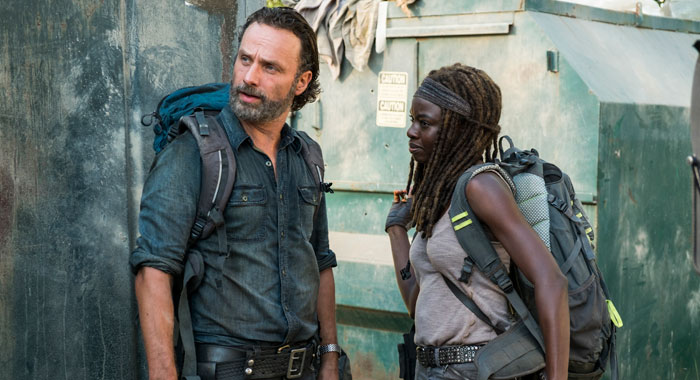 Andrew Lincoln, Danai Gurira in The Walking Dead (Gene Page/AMC)