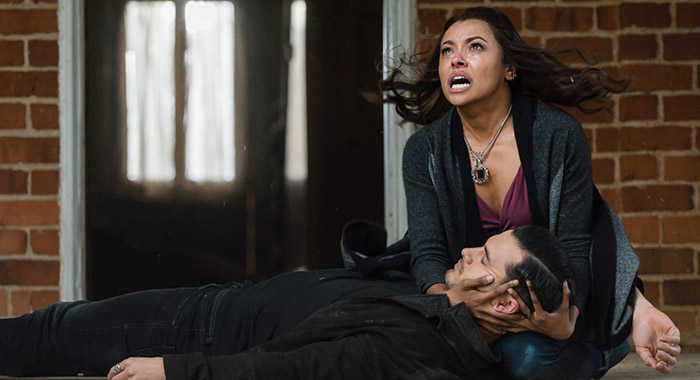 Michael Malarkey as Enzo and Kat Graham as Bonnie in The Vampire Diaries (Tina Rowden/The CW)
